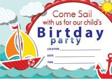 De uitnodiging Nr 1 van de zeilbootverjaardag Royalty-vrije Stock Afbeelding