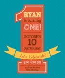 De uitnodiging van de één jaarverjaardag Stock Foto