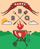De uitnodiging van de barbecuepartij Stock Afbeelding