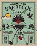 De uitnodiging van de barbecuepartij Stock Fotografie
