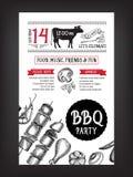 De uitnodiging van de barbecuepartij BBQ het ontwerp van het malplaatjemenu Voedselvlieger Royalty-vrije Stock Foto's