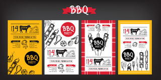 De uitnodiging van de barbecuepartij BBQ het ontwerp van het malplaatjemenu Voedselvlieger Stock Fotografie