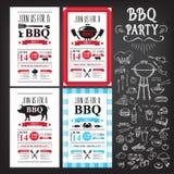 De uitnodiging van de barbecuepartij BBQ het ontwerp van het malplaatjemenu Voedselvlieger Stock Foto