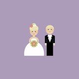 De Uitnodiging van de huwelijkskaart met jonggehuwden in vlakte Stock Foto's