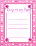 De uitnodiging van de meisjespartij Stock Afbeeldingen