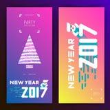 De uitnodiging van de nieuwjaar 2017 partij Vlak Ontwerp Grote witte brieven met Kerstmisboom Eenvoudige vormen Vector illustrati stock foto