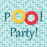 De uitnodiging van de poolpartij als twee rubberringen op de achtergrond van pooltegels Stock Afbeelding