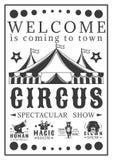 De uitnodiging van de reclameaffiche voor het circus Uitstekende vectorillustratie Royalty-vrije Stock Afbeeldingen