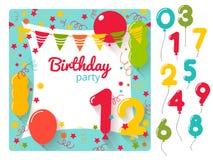 De uitnodiging van de verjaardagspartij Stock Foto's