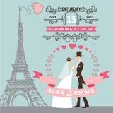 De uitnodiging van het huwelijk Bruid, bruidegom, bloemenkroon Stock Fotografie