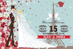 De uitnodiging van het huwelijk Bruid, bruidegom, Harten, bloemen Royalty-vrije Stock Foto's