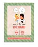 De uitnodiging van het huwelijk Bruid, bruidegom, paar Stock Foto