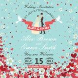 De uitnodiging van het huwelijk Bruid en bruidegom Vliegende harten, bloemenbackgro Stock Fotografie