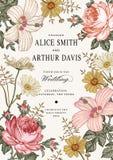 De uitnodiging van het huwelijk De mooie bloemenkamille nam hibiscusmalve toe Stock Foto's