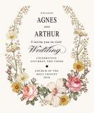 De uitnodiging van het huwelijk De mooie bloemenkamille nam hibiscusmalve toe Uitstekende groetkaart Kader Tekeningsgravure Stock Foto's