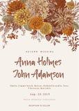 De uitnodiging van het huwelijk De zomer en Autumn Flowers Dahlia's, Ruscus, Viburnum Moderne floristics Stock Foto