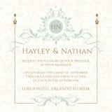 De uitnodiging van het huwelijk Decoratief bloemenkader en monogram Stock Fotografie