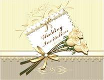De Uitnodiging van het huwelijk in gouden kleuren Royalty-vrije Stock Foto