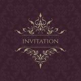 De uitnodiging van het huwelijk Klassieke grens Decoratief kader Stock Afbeeldingen