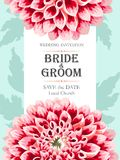 De uitnodiging van het huwelijk met bloemen Stock Afbeelding