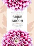 De uitnodiging van het huwelijk met bloemen Stock Foto