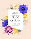 De uitnodiging van het huwelijk met bloemen Stock Afbeeldingen