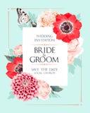 De uitnodiging van het huwelijk met bloemen Stock Fotografie