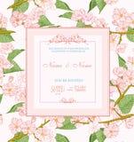 De uitnodiging van het huwelijk met bloemen De lente Cherry Blossom royalty-vrije illustratie