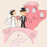 De uitnodiging van het huwelijk met dansende grappige bruid en gr. Royalty-vrije Stock Afbeelding