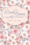 De uitnodiging van het huwelijk met rozen stock illustratie