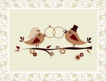 De uitnodiging van het huwelijk met vogels Stock Afbeeldingen