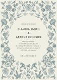 De uitnodiging van huwelijksdank De mooie realistische kaart van de bloemenheliotroop Kaderpetunia Vectorgravure victorian Illust Royalty-vrije Stock Foto's