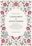 De uitnodiging van huwelijksdank De mooie realistische kaart van de bloemenheliotroop Kaderpetunia Vectorgravure victorian Illust Stock Foto's