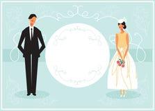 De uitnodiging van de huwelijkskaart met paar stock illustratie