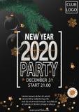 De uitnodiging van de nieuwjaar 2020 partij met Kerstmisballen royalty-vrije illustratie