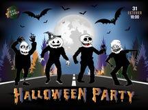 De uitnodiging voor een Halloween-partij, zombieën is op de weg Royalty-vrije Stock Afbeelding