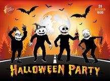 De uitnodiging voor een Halloween-partij, zombieën is op de weg Royalty-vrije Stock Foto