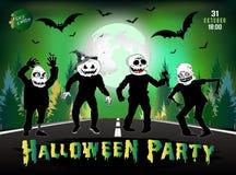 De uitnodiging voor een Halloween-partij, zombieën is op de weg Stock Foto's