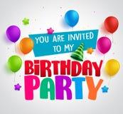 De uitnodigings van de verjaardagspartij vectorontwerp als achtergrond met groeten royalty-vrije illustratie