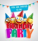 De uitnodigings vectorontwerp van de verjaardagspartij met gelukkige smileys stock illustratie
