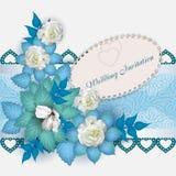 De uitnodigings Witte linten en rozen van het huwelijk Royalty-vrije Stock Afbeelding