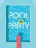 De uitnodigingsaffiche van de poolpartij, vlieger of pamfletmalplaatje Retro stijl zwembad met het levenspreserver Royalty-vrije Stock Foto