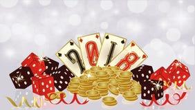 De uitnodigingsbanner van het casino Nieuwe 2018 jaar, vector Royalty-vrije Stock Foto