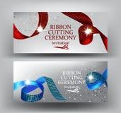 De uitnodigingsbanners van de lint scherpe ceremonie met krullende rood en blauw met druklinten vector illustratie