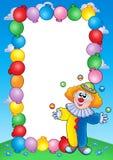 De uitnodigingsframe van de partij met clown 4 vector illustratie