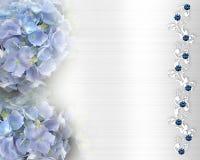 De uitnodigingsHydrangea hortensia en kant van het huwelijk Stock Fotografie