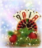 De uitnodigingskaart van casinokerstmis, het nieuwe jaar van 2018 Royalty-vrije Stock Fotografie