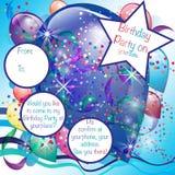 De Uitnodigingskaart van de ballonspartij voor Jongen Royalty-vrije Stock Afbeeldingen