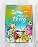 De uitnodigingskaart van de de zomerpartij Cocktail partyvlieger Stock Afbeeldingen