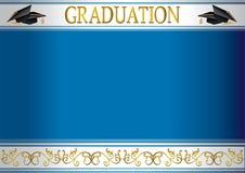 De uitnodigingskaart van de graduatie met mortieren Royalty-vrije Stock Foto's